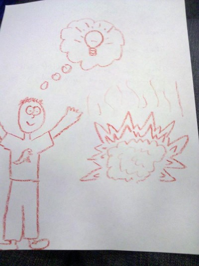 drawing of me, explosion, and ideas