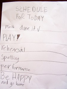 child's to do list