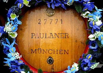 Wooden keg of Paulaner beer from Munich