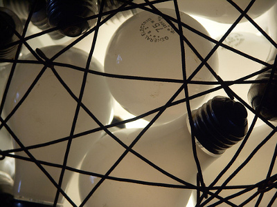 lightbulbs in a cage